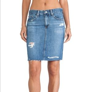 AG Erin The Pencil Jean Skirt Distressed Hem 27